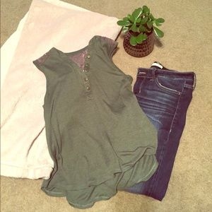 EUC Army green Henley tank with lace detail